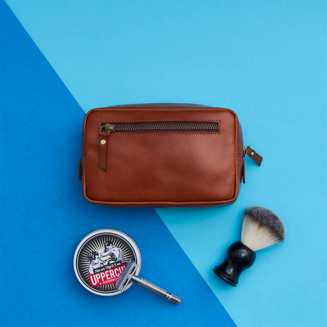 Leather Shaving Kit Bag // Dark Tan (Dark Tan)