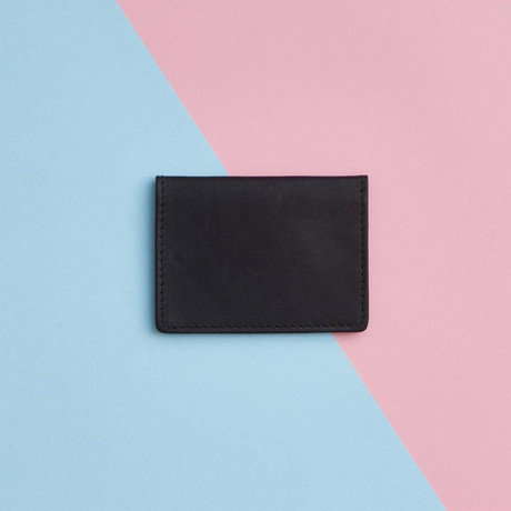 Metallic Leather Travel Card Holder // Black (Black)