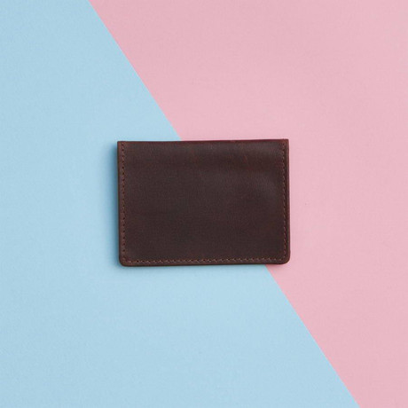 Metallic Leather Travel Card Holder // Dark Brown (Dark Brown)