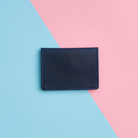 Metallic Leather Travel Card Holder // Navy (Navy)