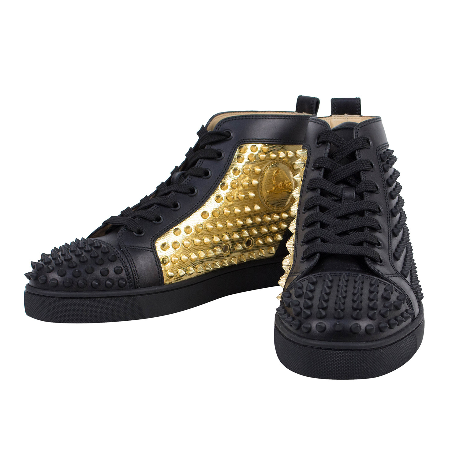 outlet store b0f42 84314 Yang Louis Leather Hi-Top Spike Sneakers // Black + Gold (US ...