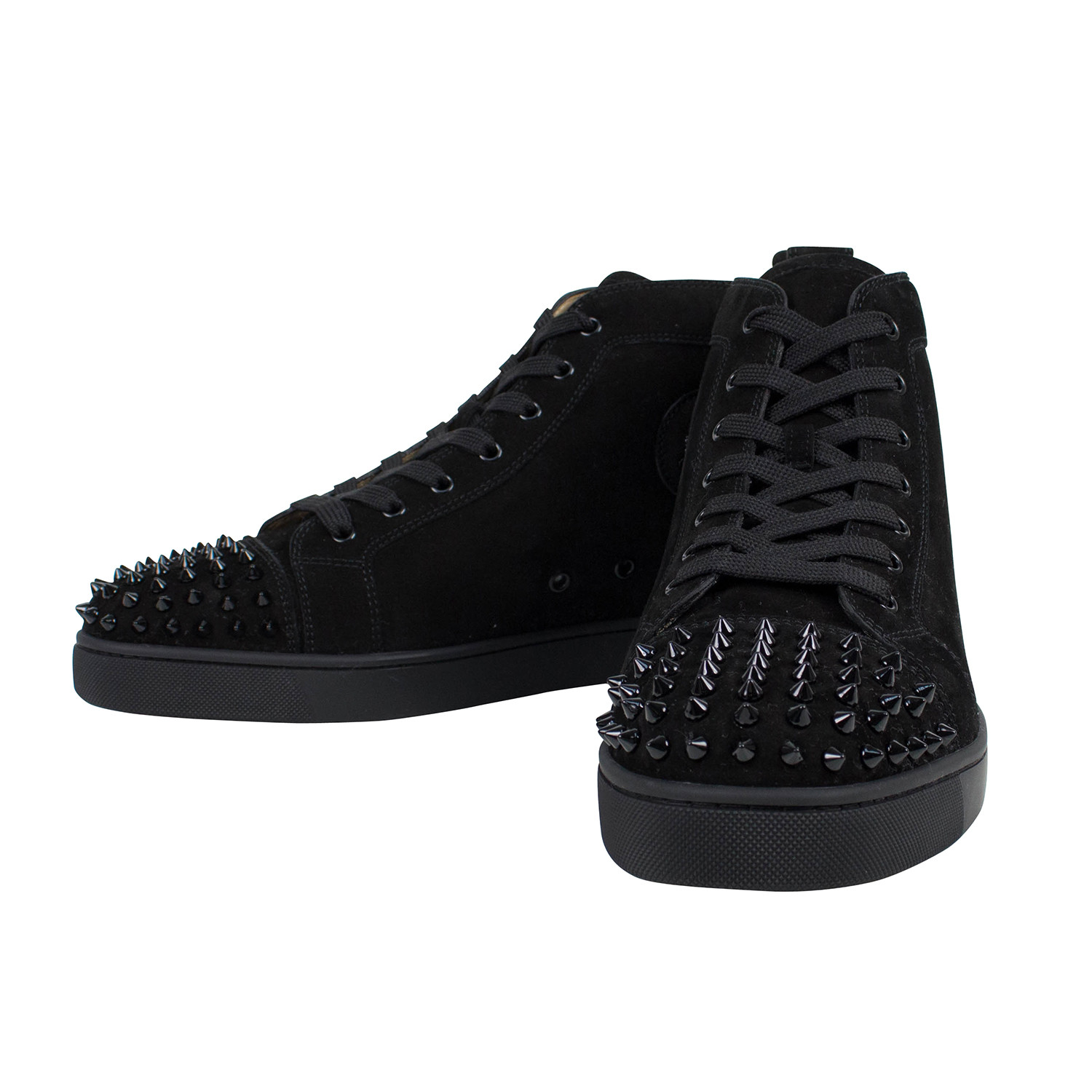 size 40 74965 52aba Louis Suede Leather Hi-Top Spike Sneakers // Black (US: 13 ...