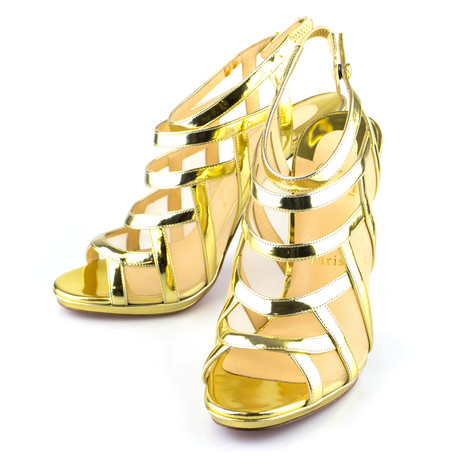 Women's // Leather Nicole K 120mm Specchio Sandals // Gold (Euro: 40)