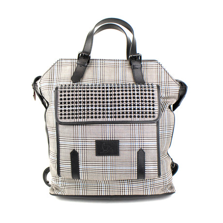 Christian Louboutin // Plaid Syd Leather + Wool Backpack // Black + Brown + White + Blue