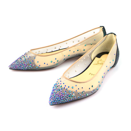 Women's // Follies Strass Embellished Flats // Blue (Euro: 40)