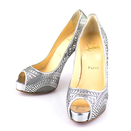 Louboutin // Suellena 120 Open-Toe Pumps // Metallic (Euro: 35)
