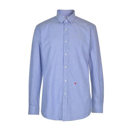 Moschino Sleeved Shirt // Blue Blue + White Stripe