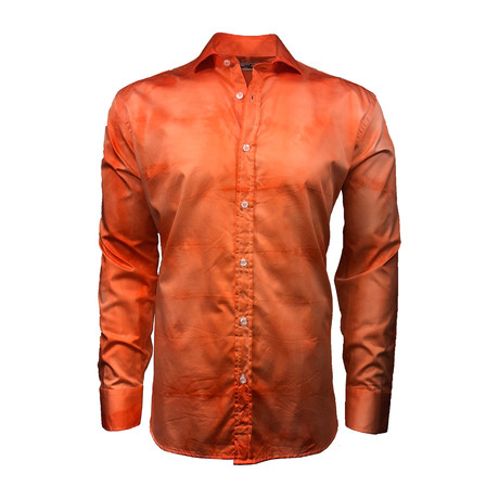 Semi Fitted Hand-Dyed Button Down Shirt // Orange (S)