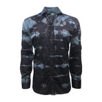 Semi Fitted Hand-Dyed Button Down Shirt // Black + Teal (M)