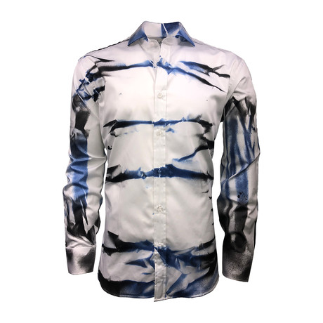 Semi Fitted Hand-Dyed Button Down Shirt // Tiger Black + Blue (S)