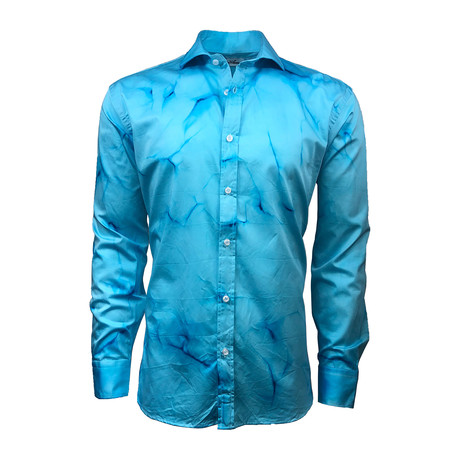 Semi Fitted Hand-Dyed Button Down Shirt // Sky Blue (S)