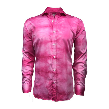 Semi Fitted Hand-Dyed Button Down Shirt // Pink (S)