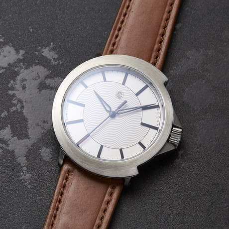 Codek Spiral Opaline White Automatic + Tan Horween Shell Cordovan Strap