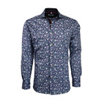 Paisley Button-Up // Blue (M)