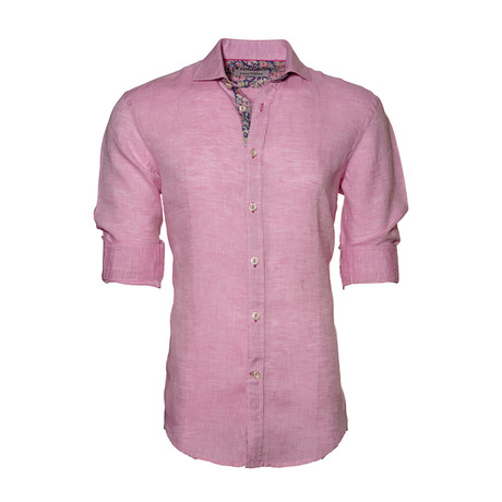 Floral Linen Button-Up // Light Pink (S)