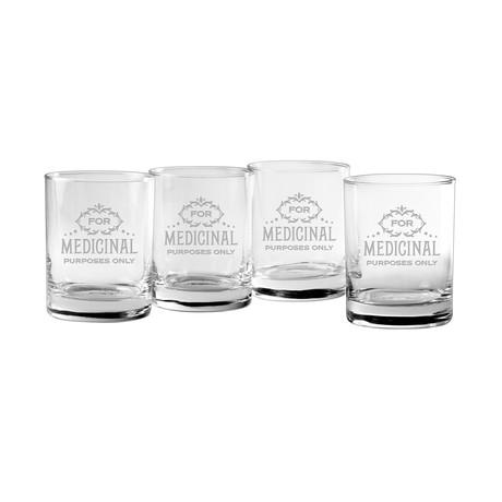 Medicinal Purposes Rocks Glasses // Set of 4