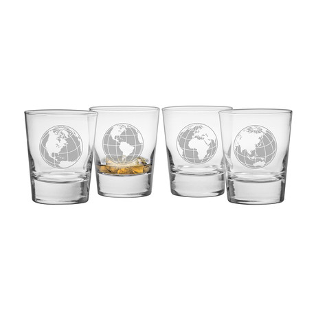 Map Projection Double Old Fashioned Glasses // Set of 4