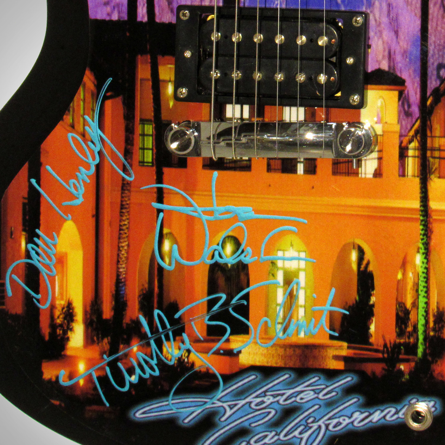 eagles hotel california band autographed guitar rare t touch of modern. Black Bedroom Furniture Sets. Home Design Ideas