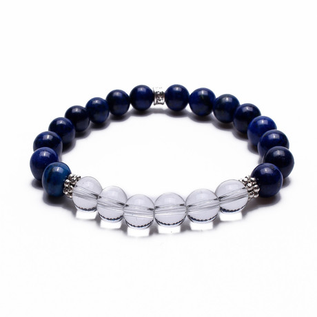 Two Toned Beaded Bracelet // Navy + Clear