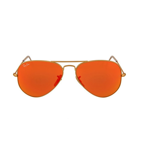 Aviator // Matte Gold + Red Orange Mirror