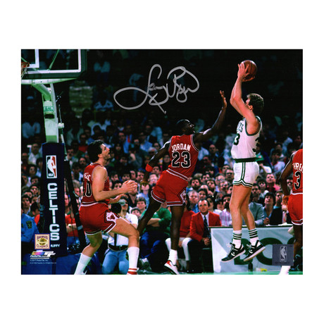 "Larry Bird Signed Boston Celtics Shooting Over Michael Jordan Photo (10"" x 8"")"