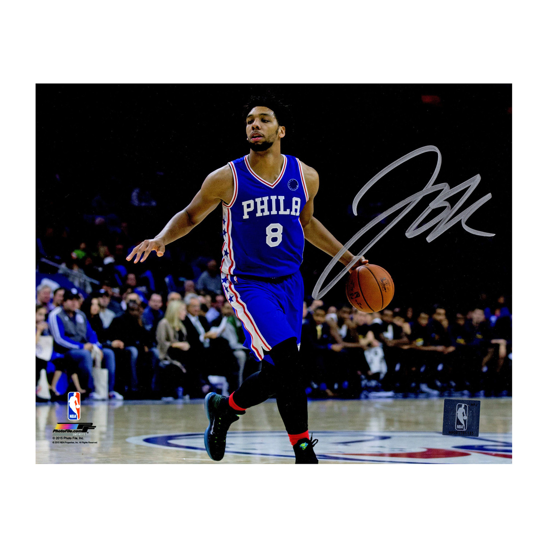 the best attitude d914b 51b5c Jahlil Okafor Signed Philadelphia 76ers Dribbling Action ...