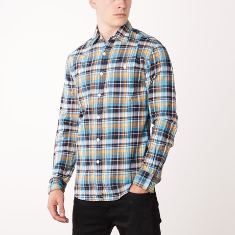 Double Faced Plaid Shirt // Turquoise