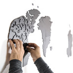 Homizmo Luxury Wooden Wall Map Decoration Giant // Black