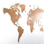 Homizmo Luxury Wooden Wall Map Decoration Giant // Brown