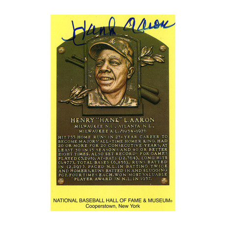 Hank Aaron Signed Hall Of Fame Plaque Postcard