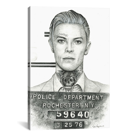 "Mugshot Bowie // Inked Ikons (18""W x 26""H x 0.75""D)"
