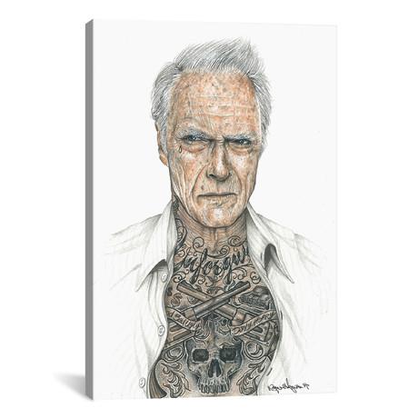 "OG Eastwood // Inked Ikons (12""W x 18""H x 0.75""D)"