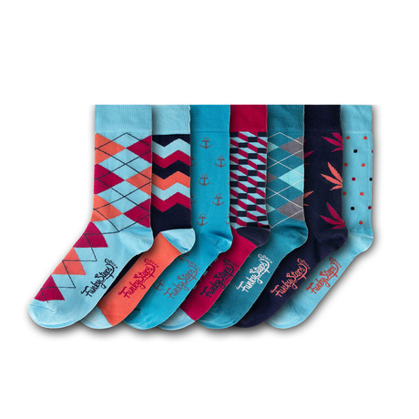 Socks // Teal + Red + Black // Set of 7