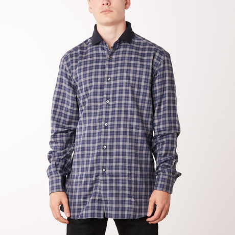 Mitchel Long-Sleeve Fitted Shirt // Midnight Blue (XS)