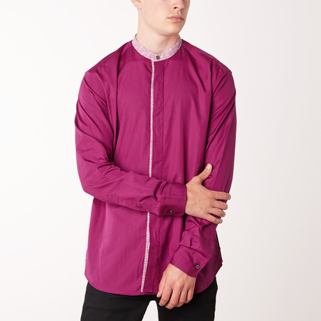 Aaron Long-Sleeve Fitted Shirt // Pink (XS)