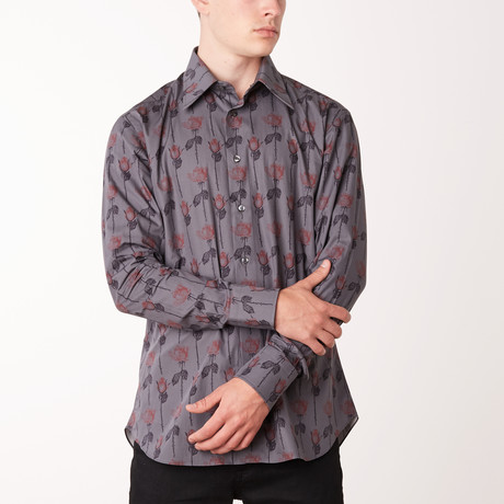 Tanner Long-Sleeve Regular Fit Shirt // Cloud + Brioni Red (XS)