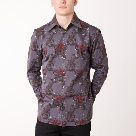 Stefan Long-Sleeve Regular Fit Shirt // Flannel + Bordeaux (XS)