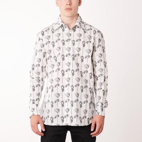 Efrain Long-Sleeve Regular Fit Shirt // White + Black (XS)