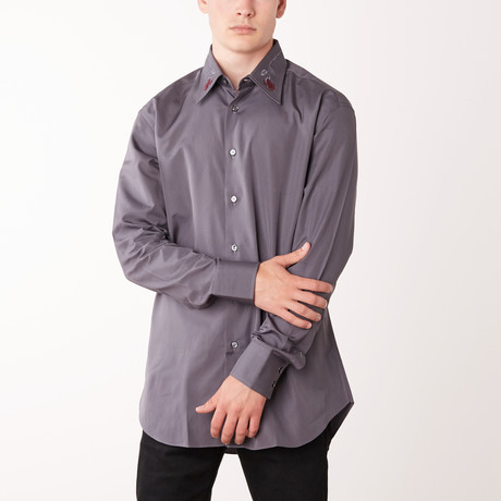 Kurt Long-Sleeve Fitted Shirt // Anthracite (XS)