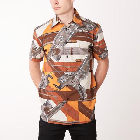 Thanh Short-Sleeve Fitted Shirt // Dark Brown + Mustard (XS)