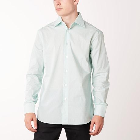 Lenard Long-Sleeve Regular Fit Shirt // Aqua + White (XS)