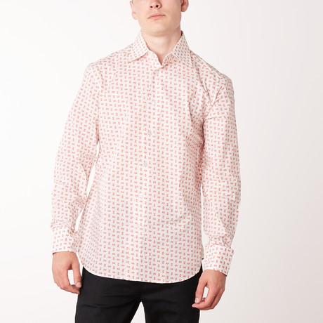 Ambrose Long-Sleeve Regular Fit Shirt // White + Brioni Red (XS)