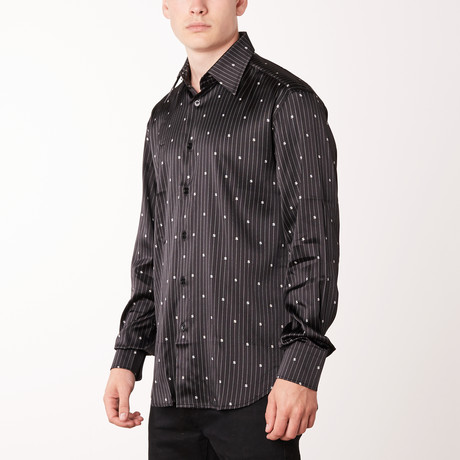Dallas Long-Sleeve Regular Fit Shirt // Black + White (XS)