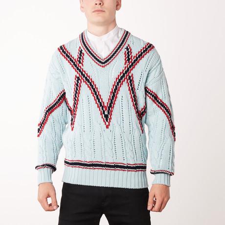 Knit V Neck Sweater // Aqua + Brioni Red (Euro: 46)