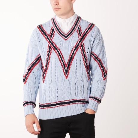 Knit V Neck Sweater // Bluette + Brioni Red (Euro: 46)