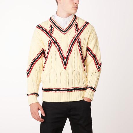 Knit V Neck Sweater // Lemon + Brioni Red (Euro: 46)