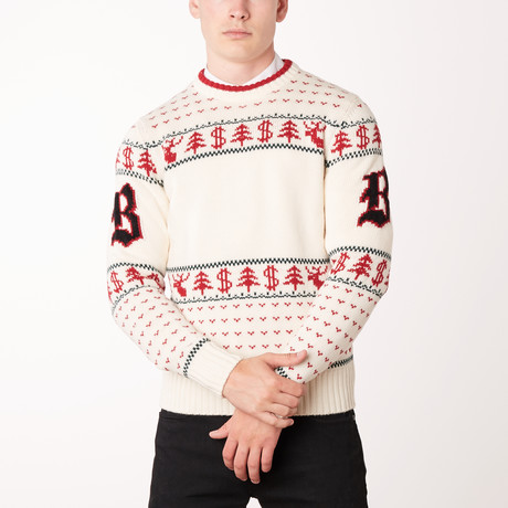 Knit Crewneck Sweater // Ivory + Red + Green (Euro: 46)