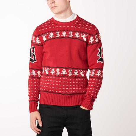 Knit Crewneck Sweater // Brioni Red + Black (Euro: 46)