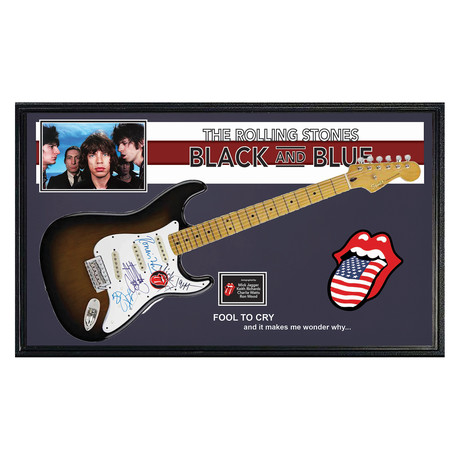 "Framed Autographed Guitar // Rolling Stones ""Black And Blue"""