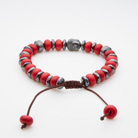 Jean Claude Jewelry // Bamboo Macramé Bracelet // Red + Silver